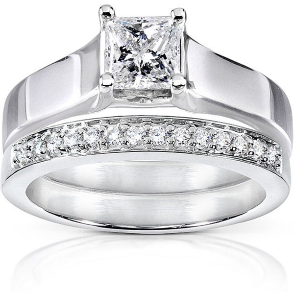 Annello by Kobelli 14k White Gold 5/8ct TDW Princess and Round Diamond