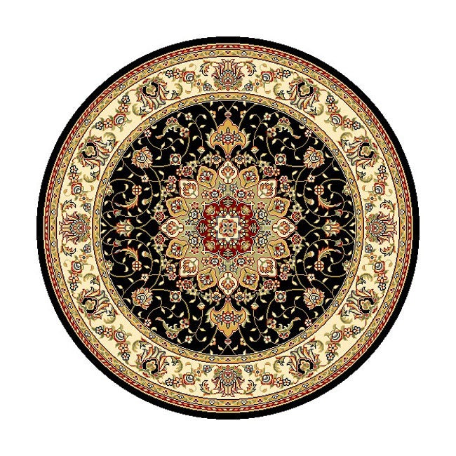 Lyndhurst Collection Traditional Black/ Ivory Rug (8 Round) (BlackPattern OrientalMeasures 0.375 inch thickTip We recommend the use of a non skid pad to keep the rug in place on smooth surfaces.All rug sizes are approximate. Due to the difference of mon