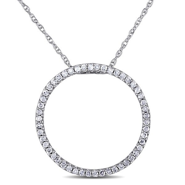 Haylee Jewels 10k White Gold 1/4ct TDW Diamond Circle Necklace