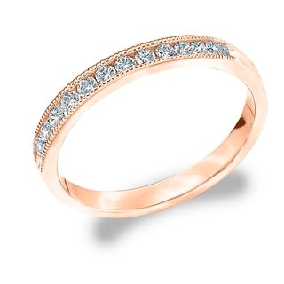 Amore 18K Rose Gold 0.25 CTTW Diamond Wedding Band or Anniversary Ring with Milgrain