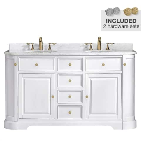 "OVE Decors Diana Vanity 60"" White with Carrara Marble Top"