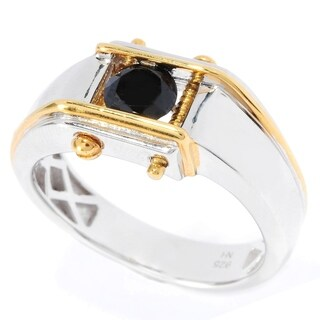 Michael Valitutti Palladium Silver Men's Round Black Gemstone Screw Encased Polished Ring