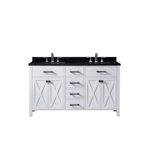 Beau OVE Decors Xena 60u201d Pure White Double Sink Vanity With Black Granite Top