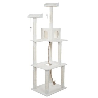 PETMAKER Sleep and Play Cat Tree - 6 ft tall - Ivory