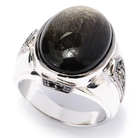 Michael Valitutti Palladium Silver Men's Black Obsidian and Black Diamond Ring