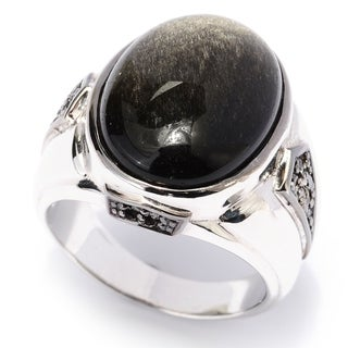 Michael Valitutti Palladium Silver Men's Black Obsidian and Black Diamond Ring