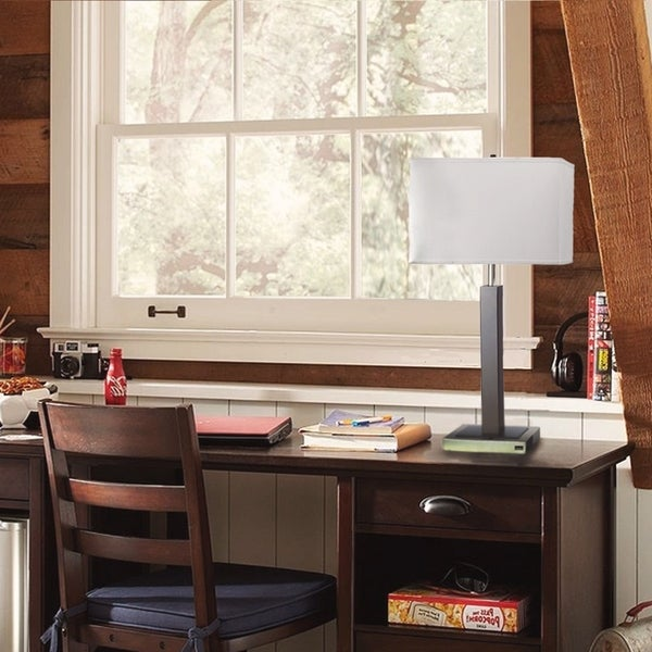 Shop 30 Inch White Shade Adrienne Metal Table Lamp W Usb