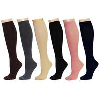 Rexx Women's Therapeutic Graduated Compression Knee-high Socks (Pack of 6 Pairs)