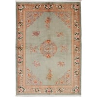 eCarpetGallery  Hand-knotted Aubousson Light Green Wool Rug - 5'7 x 7'10
