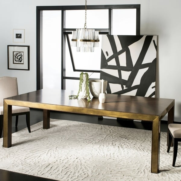 """Safavieh Couture Leena Brass Dining Table / Brass - 95 """" w x 46 """" d x 30 """" h"""