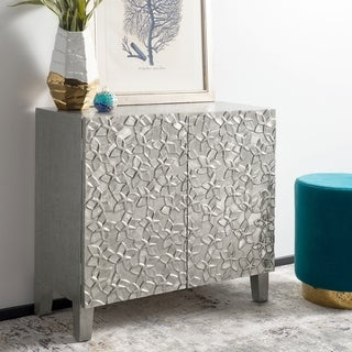 "Safavieh Couture Sanora Metal Nightstand - Silver - 35.5""w x 15.75""d x 31.5""h"