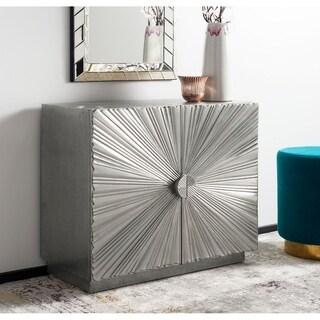 """Safavieh Couture Sylas Sunburst 2-Door Chest / Silver - 34.5""""w x 15.75""""d x 29.5""""h"""