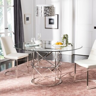 """Safavieh Couture Ren Chrome Round Glass Top Dining Table / Chrome - polished stainless steel - 54""""w x 54""""d x 29.5""""h"""