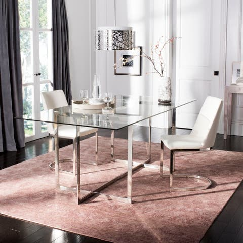 Safavieh Couture Fidel Polished Glass Top Dining Table / Chrome - Polished Stainless