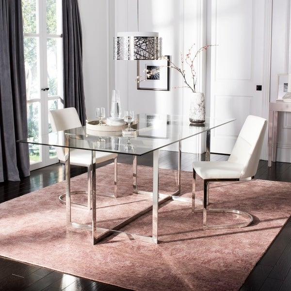 """Safavieh Couture Fidel Polished Glass Top Dining Table / Chrome - polished stainless steel - 78.75""""w x 39.4""""d x 30""""h"""