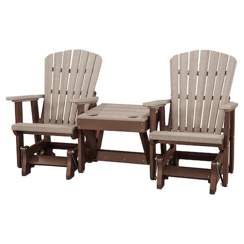 OS Home Model 515WWTB-K Weatherwood and Tudor Brown Double Glider with Center Table