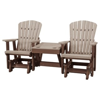 Link to OS Home Model 515WWTB-K Weatherwood and Tudor Brown Double Glider with Center Table Similar Items in Patio Furniture