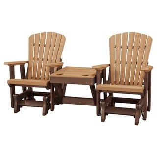 Link to OS Home Model 515CTB-K Cedar/Tudor Brown Double Glider with Center Table Similar Items in Patio Furniture