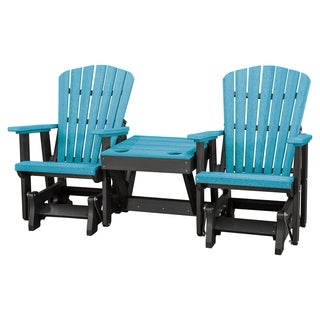OS Home Model 515ARB-K Aruba Blue/Black Double Glider with Center Table