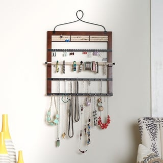 Hives & Honey Jewelry Organizer with Bracelet Holder Rod, Walnut