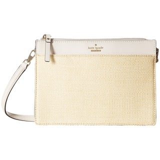 kate spade Cameron Street Straw Clarise Small Natural/Cement Crossbody
