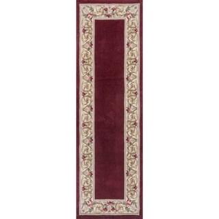 KAS Handmade Ruby Wool/ Cotton Floral Border Runner Rug - 2'3 x 9'6