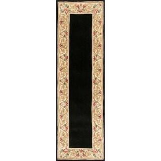 KAS Ruby Black Floral Border Runner Rug - 2'3 x 9'6