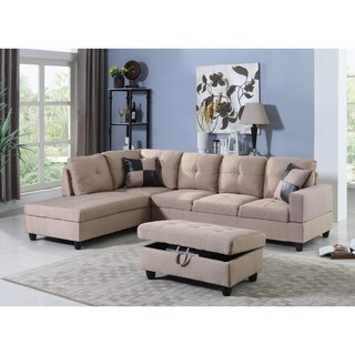 Golden Coast Furniture Beige Linen Upholstered 3-piece Sectional Sofa with Ottoman Storage
