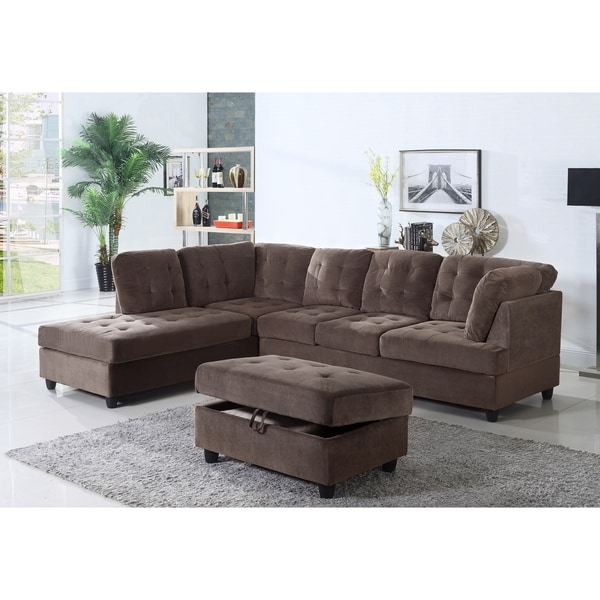 Golden Coast Furniture Brown Corduroy Fabric Upholstered 3 Piece Sectional  Sofa With Ottoman Storage