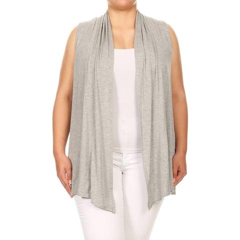 Women's Plus Size Solid Vest Style Cardigan