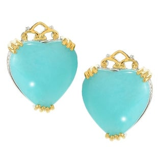 Michael Valitutti Palladium Silver Heart Shaped Amazonite Stud Earrings
