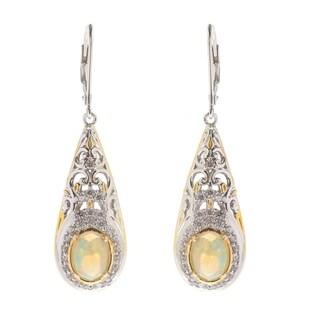 Michael Valitutti Palladium Silver Ethiopian Opal and White Zircon Teardrop Earrings