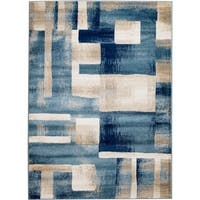 "Rug And Decor - Madison Traditional Blue Cream Geometric Boxes Design Area Rug - 7'7"" x 10'6"""