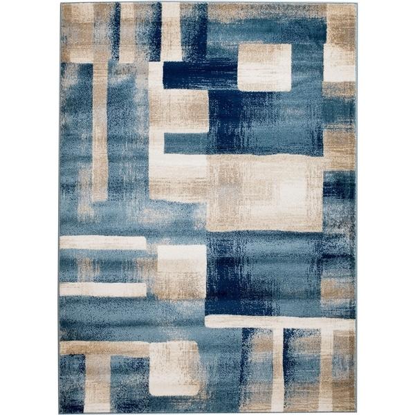 "Rug And Decor - Madison Traditional Blue Cream Geometric Boxes Design Area Rug - 7'7"" x 10'6"""