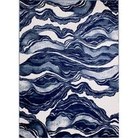 """Rug And Decor - Madison Traditional Blue / Navy Marble Design Area Rug - 7'7"""" x 10'6"""""""