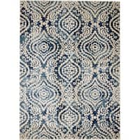"Rug And Decor - Madison Traditional Cream Navy Blue Contemporary Trellis Design Area Rug - 7'7"" x 10'6"""