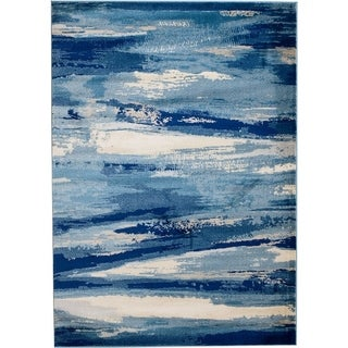 "Rug And Decor - Madison Traditional Navy Blue Cream Abstract Design Area Rug - 7'7"" x 10'6"""