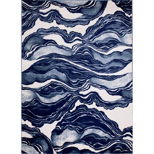 """Rug And Decor - Madison Traditional Blue / Navy Marble Design Area Rug - 3'6"""" x 5'"""