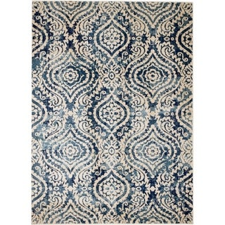"Rug And Decor - Madison Traditional Cream Navy Blue Contemporary Trellis Design Area Rug - 3'6"" x 5'"