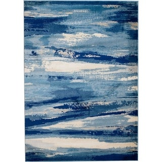 Rug And Decor - Madison Collection Traditional Navy Blue Cream Abstract Design Area Rug - 2'3 x 8'