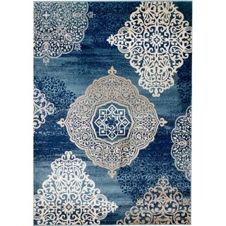 Rug And Decor - Madison Traditional Navy Blue Contemporary Design Area Rug - 5' x 7'