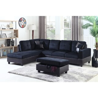 Golden Coast Furniture 3-piece Microfiber Leather Sofa Sectional with Ottoman Storage (Option: Midnight Blue - Left Facing)