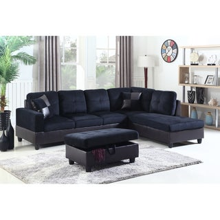 Golden Coast Furniture 3-piece Microfiber Leather Sofa Sectional with Ottoman Storage (Option: Midnight Blue - Right Facing)