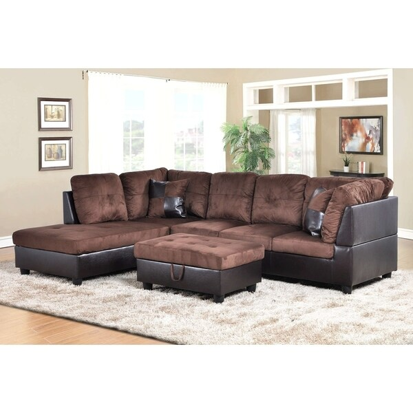 Golden Coast Furniture 3-piece Microfiber Leather Sofa Sectional with Ottoman Storage