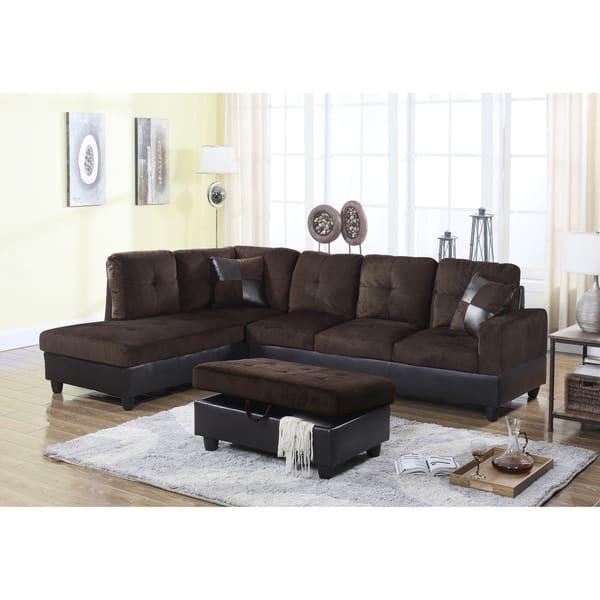 Shop Golden Coast Furniture 3-piece Microfiber Leather Sofa ...