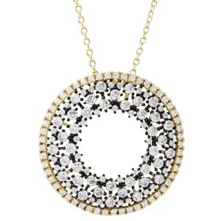 Link to Luxiro Sterling Silver Two-tone Finish Cubic Zirconia Open Circle Pendant Necklace Similar Items in Necklaces