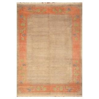 Handmade Herat Oriental Indo Hand-knotted Semi-Antique Tibetan 1940's Wool Rug (8' x 11')