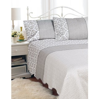 """Hotel Quilted 90""""x90"""" Bedspread 3 Piece Set LACE in size Double/Queen"""