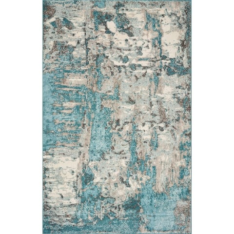 Porch & Den Golse Ivory/Teal Abstract Marble Rug