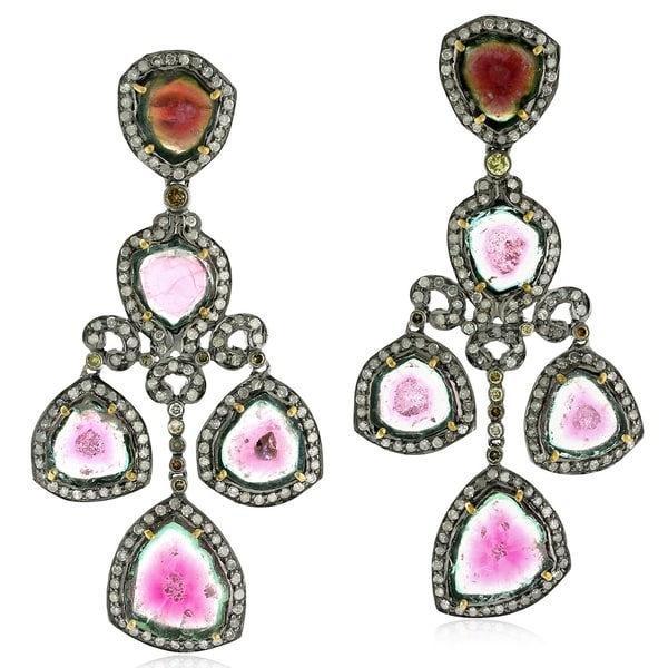 18kt Gold And Silver 28 7 Cts Watermelon Tourmaline Earring